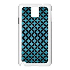 Circles3 Black Marble & Teal Brushed Metal Samsung Galaxy Note 3 N9005 Case (white)