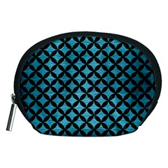 Circles3 Black Marble & Teal Brushed Metal Accessory Pouches (medium)  by trendistuff