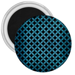 Circles3 Black Marble & Teal Brushed Metal (r) 3  Magnets