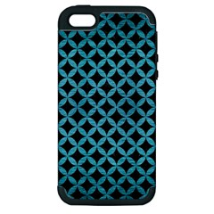 Circles3 Black Marble & Teal Brushed Metal (r) Apple Iphone 5 Hardshell Case (pc+silicone) by trendistuff