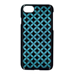 Circles3 Black Marble & Teal Brushed Metal (r) Apple Iphone 8 Seamless Case (black)