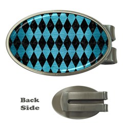 Diamond1 Black Marble & Teal Brushed Metal Money Clips (oval)  by trendistuff