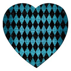 Diamond1 Black Marble & Teal Brushed Metal Jigsaw Puzzle (heart) by trendistuff
