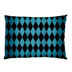 Diamond1 Black Marble & Teal Brushed Metal Pillow Case by trendistuff