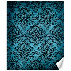 Damask1 Black Marble & Teal Brushed Metal Canvas 8  X 10  by trendistuff