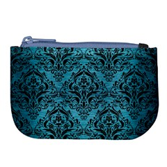 Damask1 Black Marble & Teal Brushed Metal Large Coin Purse by trendistuff