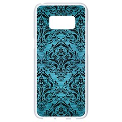 Damask1 Black Marble & Teal Brushed Metal Samsung Galaxy S8 White Seamless Case by trendistuff