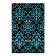 Damask1 Black Marble & Teal Brushed Metal (r) Shower Curtain 48  X 72  (small)  by trendistuff