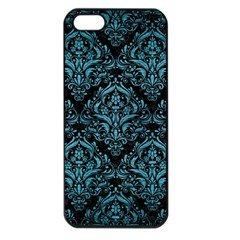 Damask1 Black Marble & Teal Brushed Metal (r) Apple Iphone 5 Seamless Case (black) by trendistuff