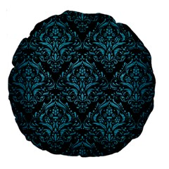 Damask1 Black Marble & Teal Brushed Metal (r) Large 18  Premium Round Cushions by trendistuff