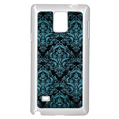 Damask1 Black Marble & Teal Brushed Metal (r) Samsung Galaxy Note 4 Case (white) by trendistuff