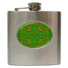 Golden Green And  Sunshine Pop Art Hip Flask (6 Oz) by pepitasart