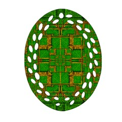 Golden Green And  Sunshine Pop Art Ornament (oval Filigree) by pepitasart