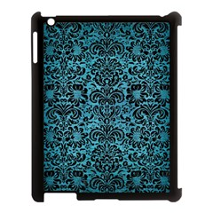 Damask2 Black Marble & Teal Brushed Metal Apple Ipad 3/4 Case (black) by trendistuff