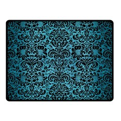 Damask2 Black Marble & Teal Brushed Metal Double Sided Fleece Blanket (small)  by trendistuff