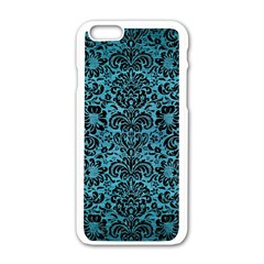 Damask2 Black Marble & Teal Brushed Metal Apple Iphone 6/6s White Enamel Case by trendistuff