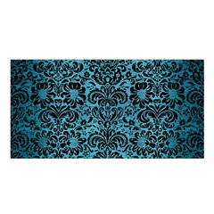 Damask2 Black Marble & Teal Brushed Metal Satin Shawl by trendistuff