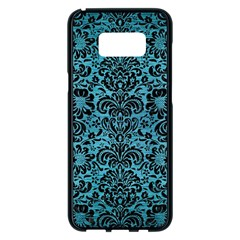 Damask2 Black Marble & Teal Brushed Metal Samsung Galaxy S8 Plus Black Seamless Case by trendistuff