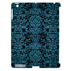 Damask2 Black Marble & Teal Brushed Metal (r) Apple Ipad 3/4 Hardshell Case (compatible With Smart Cover) by trendistuff