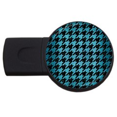 Houndstooth1 Black Marble & Teal Brushed Metal Usb Flash Drive Round (2 Gb) by trendistuff
