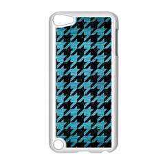 Houndstooth1 Black Marble & Teal Brushed Metal Apple Ipod Touch 5 Case (white) by trendistuff