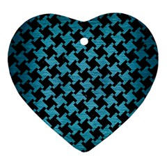 Houndstooth2 Black Marble & Teal Brushed Metal Ornament (heart) by trendistuff