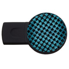 Houndstooth2 Black Marble & Teal Brushed Metal Usb Flash Drive Round (2 Gb) by trendistuff