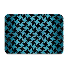 Houndstooth2 Black Marble & Teal Brushed Metal Plate Mats by trendistuff