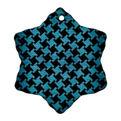 Houndstooth2 Black Marble & Teal Brushed Metal Snowflake Ornament (two Sides) by trendistuff