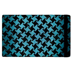 Houndstooth2 Black Marble & Teal Brushed Metal Apple Ipad 3/4 Flip Case by trendistuff