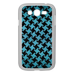 Houndstooth2 Black Marble & Teal Brushed Metal Samsung Galaxy Grand Duos I9082 Case (white) by trendistuff