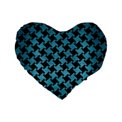 Houndstooth2 Black Marble & Teal Brushed Metal Standard 16  Premium Flano Heart Shape Cushions by trendistuff