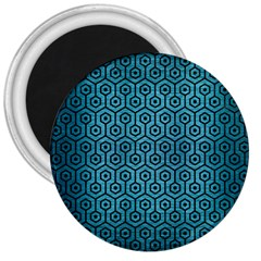 Hexagon1 Black Marble & Teal Brushed Metal 3  Magnets by trendistuff