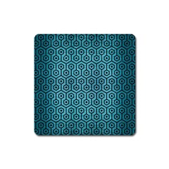 Hexagon1 Black Marble & Teal Brushed Metal Square Magnet by trendistuff