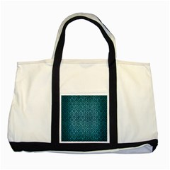 Hexagon1 Black Marble & Teal Brushed Metal Two Tone Tote Bag by trendistuff