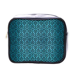 Hexagon1 Black Marble & Teal Brushed Metal Mini Toiletries Bags
