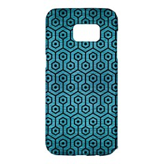 Hexagon1 Black Marble & Teal Brushed Metal Samsung Galaxy S7 Edge Hardshell Case by trendistuff