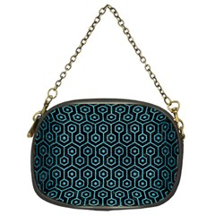 Hexagon1 Black Marble & Teal Brushed Metal (r) Chain Purses (one Side)  by trendistuff