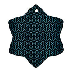 Hexagon1 Black Marble & Teal Brushed Metal (r) Snowflake Ornament (two Sides) by trendistuff