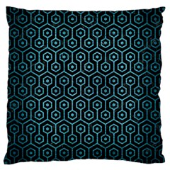 Hexagon1 Black Marble & Teal Brushed Metal (r) Large Cushion Case (one Side) by trendistuff