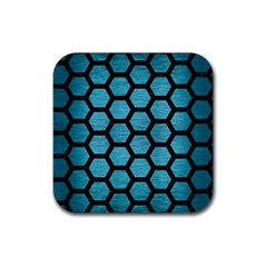 Hexagon2 Black Marble & Teal Brushed Metal Rubber Square Coaster (4 Pack)  by trendistuff