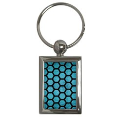 Hexagon2 Black Marble & Teal Brushed Metal Key Chains (rectangle)  by trendistuff
