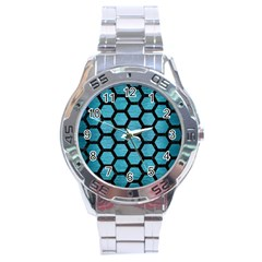 Hexagon2 Black Marble & Teal Brushed Metal Stainless Steel Analogue Watch by trendistuff