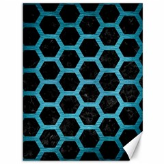 Hexagon2 Black Marble & Teal Brushed Metal (r) Canvas 36  X 48   by trendistuff