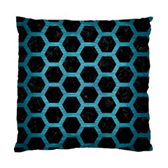 Hexagon2 Black Marble & Teal Brushed Metal (r) Standard Cushion Case (two Sides) by trendistuff