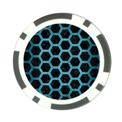 Hexagon2 Black Marble & Teal Brushed Metal (r) Poker Chip Card Guard (10 Pack) by trendistuff