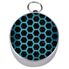 Hexagon2 Black Marble & Teal Brushed Metal (r) Silver Compasses by trendistuff