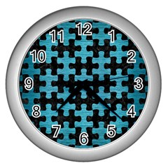 Puzzle1 Black Marble & Teal Brushed Metal Wall Clocks (silver)  by trendistuff