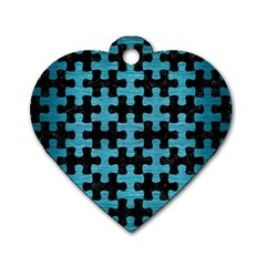 Puzzle1 Black Marble & Teal Brushed Metal Dog Tag Heart (one Side) by trendistuff