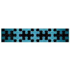 Puzzle1 Black Marble & Teal Brushed Metal Small Flano Scarf by trendistuff